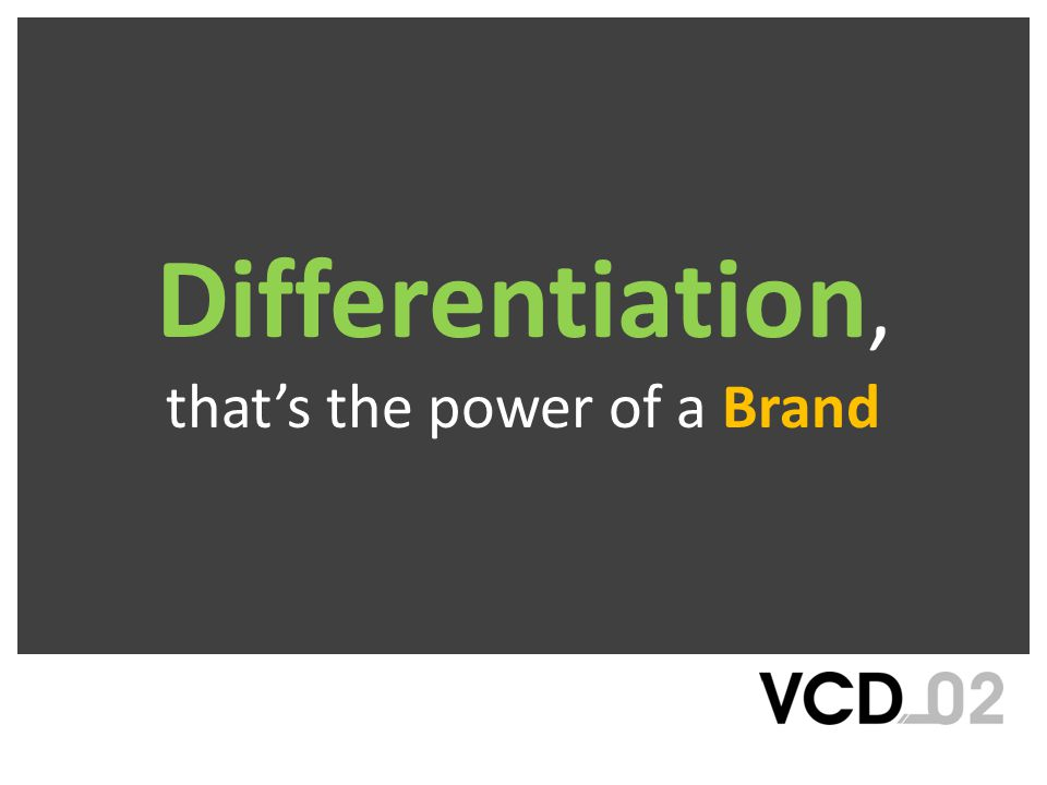 Differentiation, that's the power of a Brand