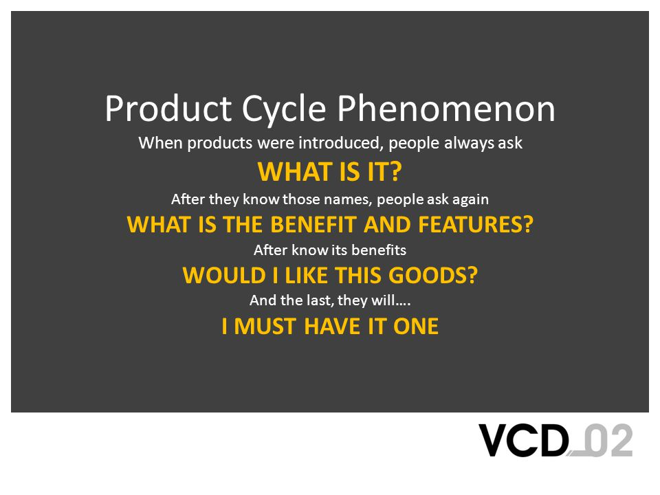 Product Cycle Phenomenon When products were introduced, people always ask WHAT IS IT.