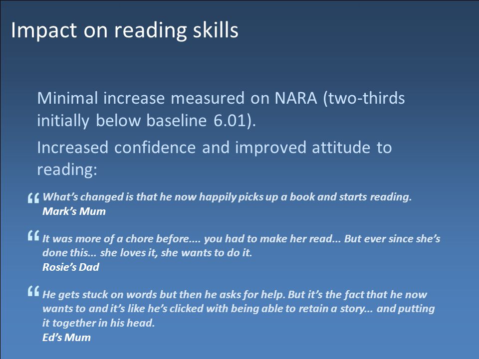 Impact on reading skills Minimal increase measured on NARA (two-thirds initially below baseline 6.01).