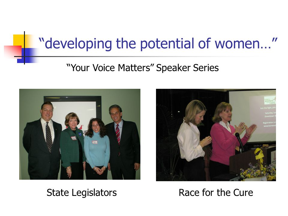 developing the potential of women… Your Voice Matters Speaker Series State LegislatorsRace for the Cure