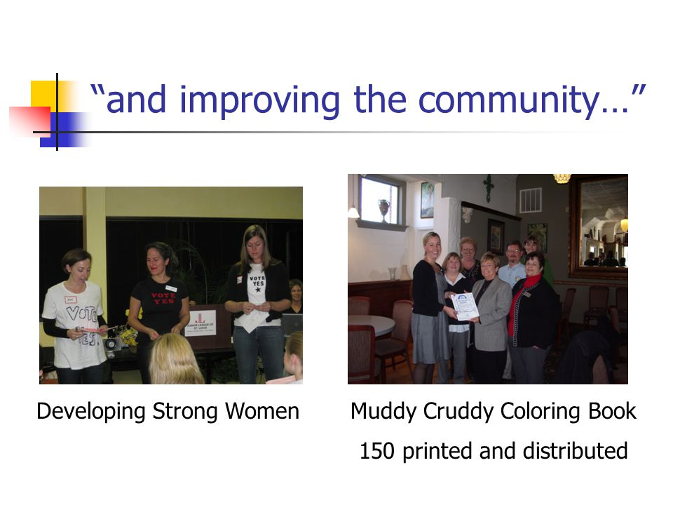 and improving the community… Developing Strong Women Muddy Cruddy Coloring Book 150 printed and distributed