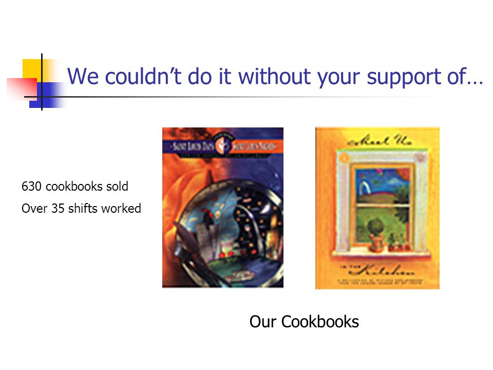 We couldn't do it without your support of… Our Cookbooks 630 cookbooks sold Over 35 shifts worked