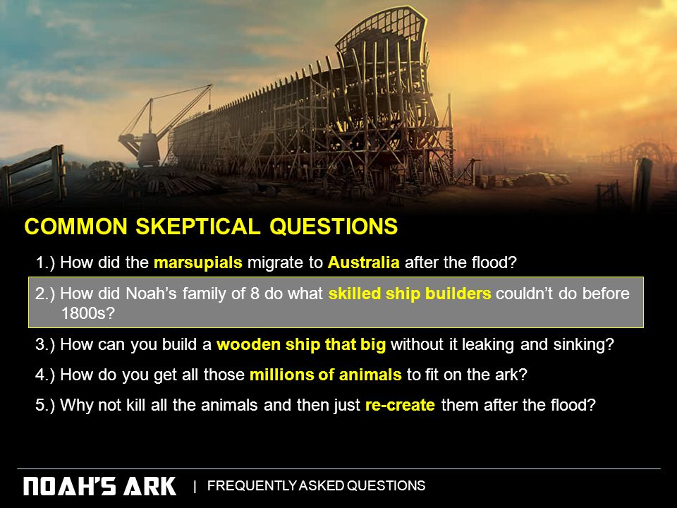 | FREQUENTLY ASKED QUESTIONS NOAH'S ARK 1.) How did the marsupials migrate to Australia after the flood.