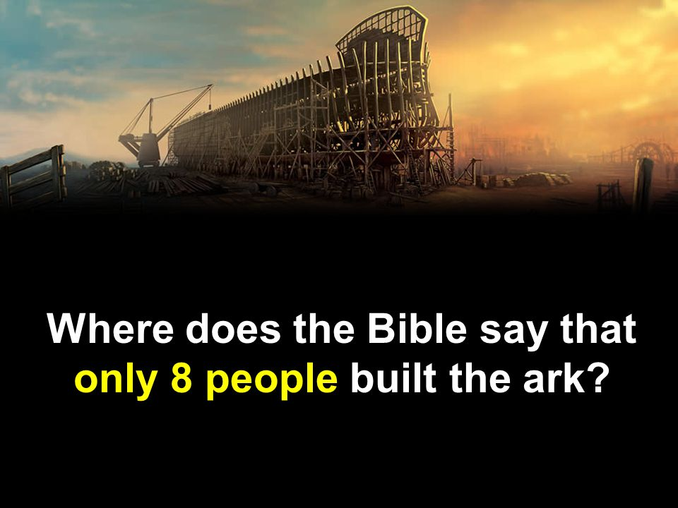 Where does the Bible say that only 8 people built the ark?