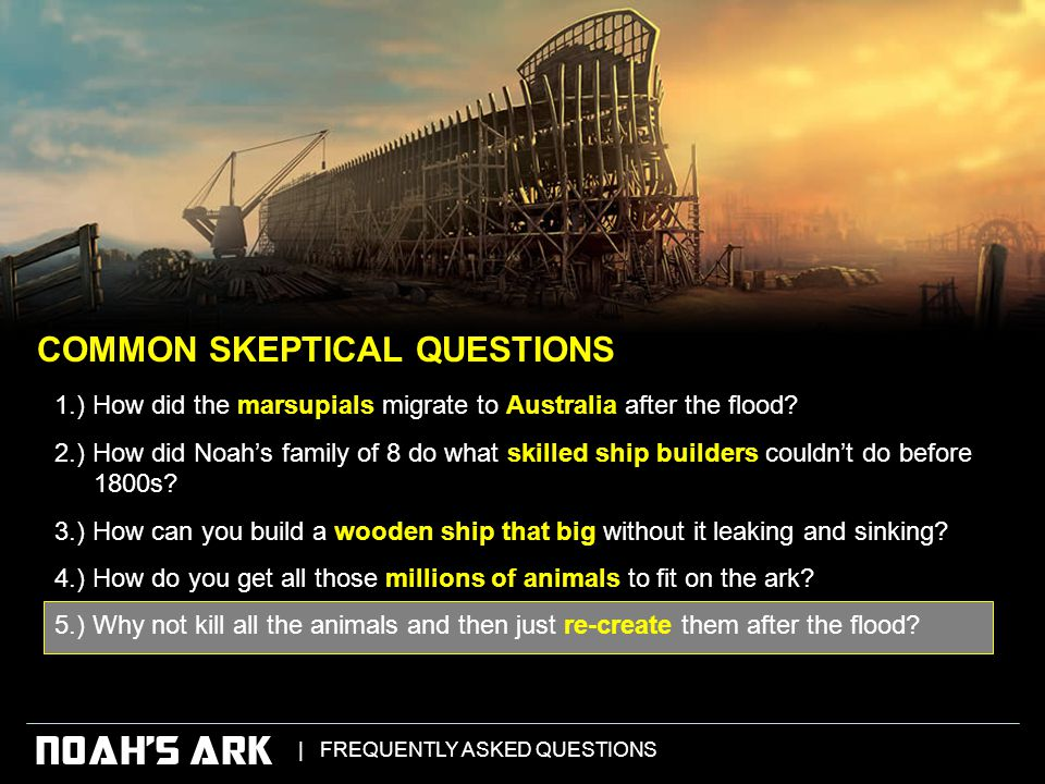   FREQUENTLY ASKED QUESTIONS NOAH'S ARK 1.) How did the marsupials migrate to Australia after the flood.