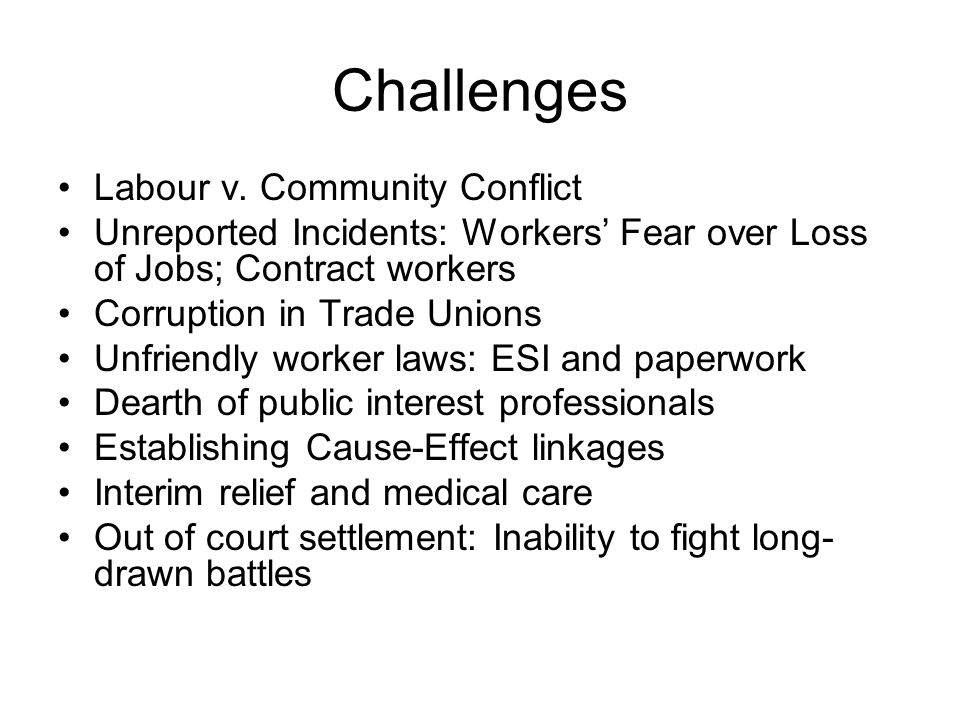 Challenges Labour v.