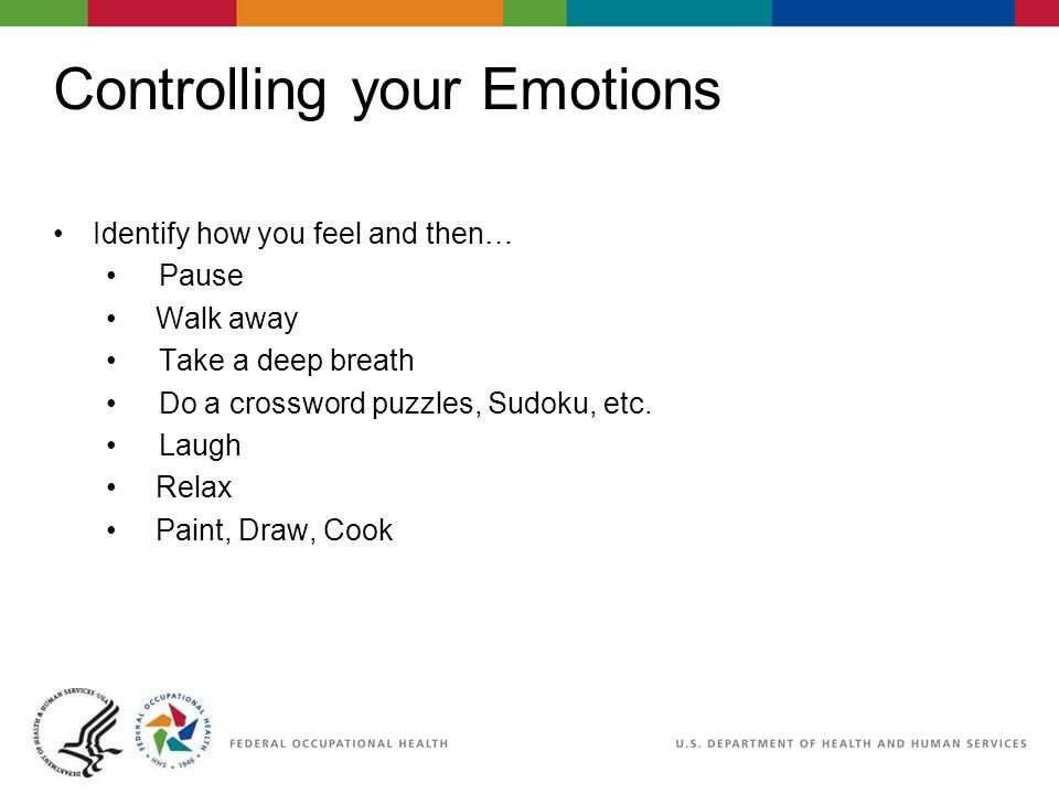 Controlling your Emotions Identify how you feel and then… Pause Walk away Take a deep breath Do a crossword puzzles, Sudoku, etc. Laugh Relax Paint, D