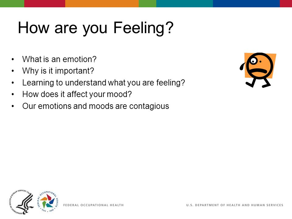 How are you Feeling? What is an emotion? Why is it important? Learning to understand what you are feeling? How does it affect your mood? Our emotions