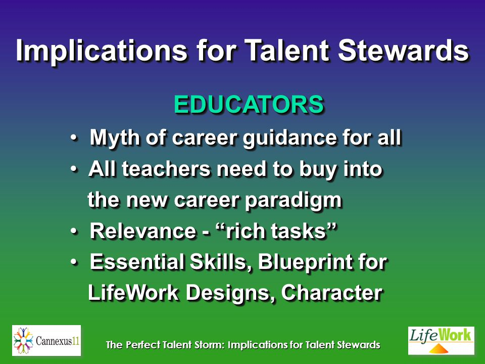 The Perfect Talent Storm: Implications for Talent Stewards EDUCATORS Myth of career guidance for all Myth of career guidance for all All teachers need to buy into All teachers need to buy into the new career paradigm the new career paradigm Relevance - rich tasks Relevance - rich tasks Essential Skills, Blueprint for Essential Skills, Blueprint for LifeWork Designs, Character LifeWork Designs, CharacterEDUCATORS Myth of career guidance for all Myth of career guidance for all All teachers need to buy into All teachers need to buy into the new career paradigm the new career paradigm Relevance - rich tasks Relevance - rich tasks Essential Skills, Blueprint for Essential Skills, Blueprint for LifeWork Designs, Character LifeWork Designs, Character Implications for Talent Stewards