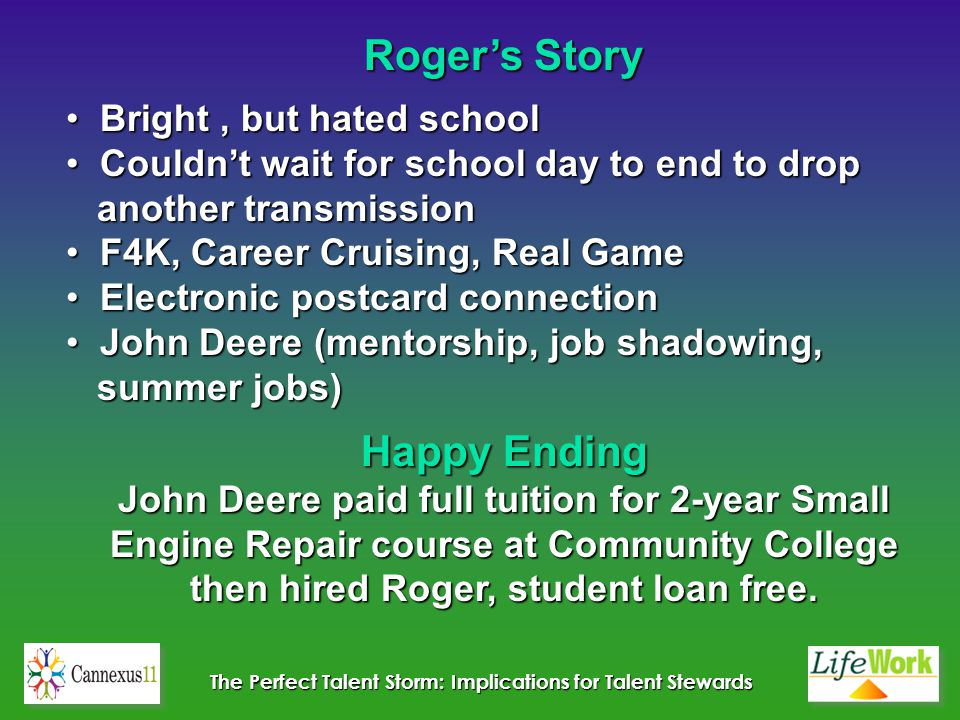 The Perfect Talent Storm: Implications for Talent Stewards Roger's Story Bright, but hated school Bright, but hated school Couldn't wait for school day to end to drop Couldn't wait for school day to end to drop another transmission another transmission F4K, Career Cruising, Real Game F4K, Career Cruising, Real Game Electronic postcard connection Electronic postcard connection John Deere (mentorship, job shadowing, John Deere (mentorship, job shadowing, summer jobs) summer jobs) Happy Ending John Deere paid full tuition for 2-year Small Engine Repair course at Community College then hired Roger, student loan free.
