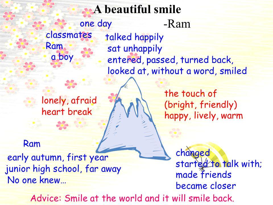 A beautiful smile -Ram junior high school, far away Ram early autumn, first year No one knew… lonely, afraid one day classmates Ram a boy talked happi