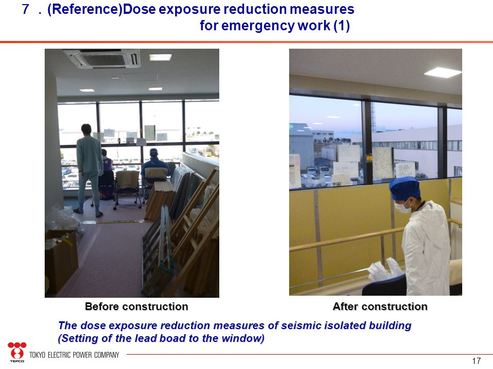 17 7. (Reference)Dose exposure reduction measures for emergency work (1) The dose exposure reduction measures of seismic isolated building (Setting of the lead boad to the window) Before construction After construction