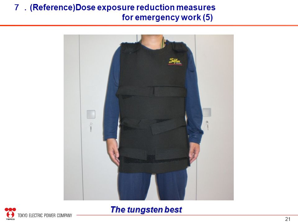 21 7. (Reference)Dose exposure reduction measures for emergency work (5) The tungsten best