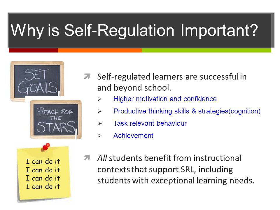 Why is Self-Regulation Important?  Self-regulated learners are successful in and beyond school.  Higher motivation and confidence  Productive think