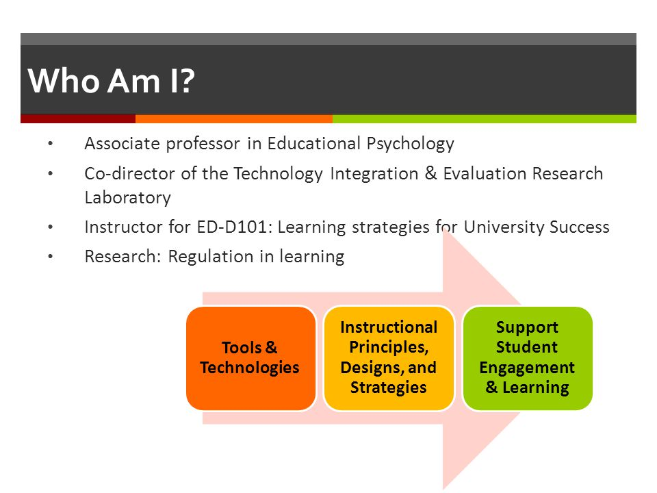 Who Am I? Associate professor in Educational Psychology Co-director of the Technology Integration & Evaluation Research Laboratory Instructor for ED-D