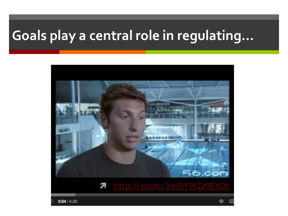 Goals play a central role in regulating…  http://youtu.be/9Y9tZy9EXOs http://youtu.be/9Y9tZy9EXOs
