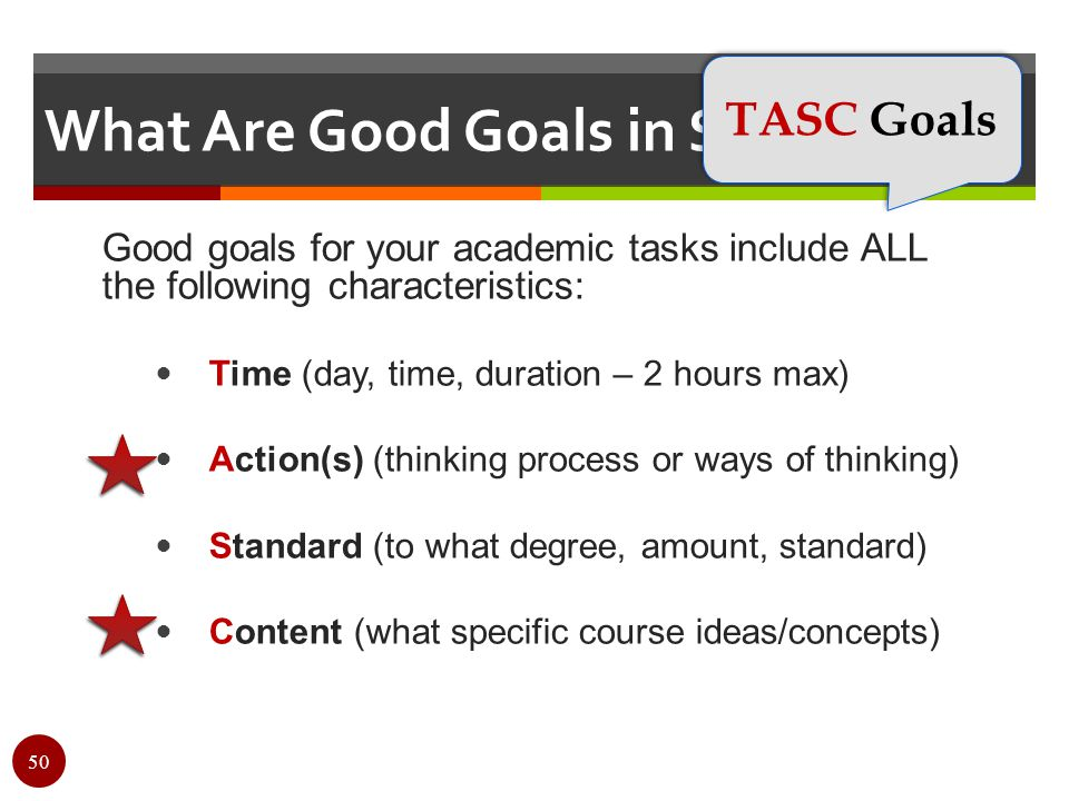 What Are Good Goals in SRL? Good goals for your academic tasks include ALL the following characteristics: Time (day, time, duration – 2 hours max) Act