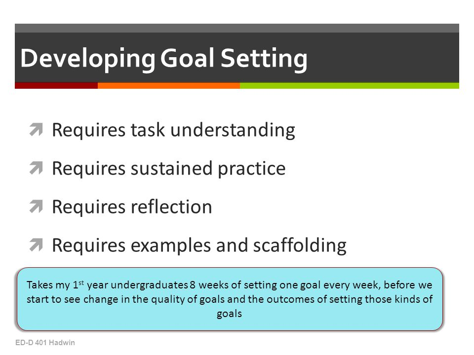  Requires task understanding  Requires sustained practice  Requires reflection  Requires examples and scaffolding ED-D 401 Hadwin Developing Goal