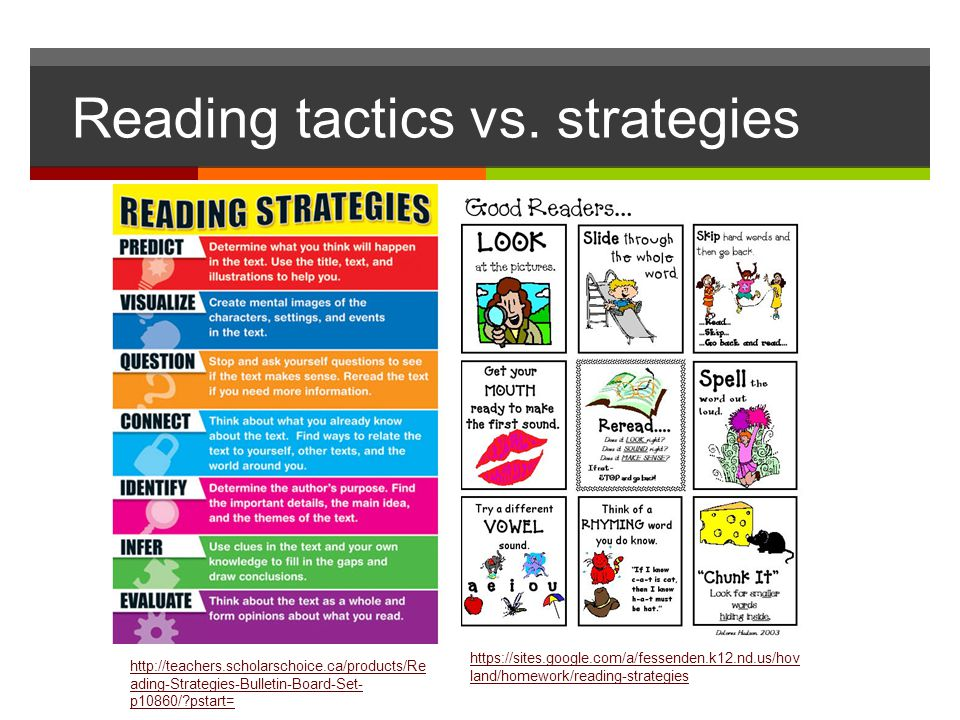 Reading tactics vs. strategies https://sites.google.com/a/fessenden.k12.nd.us/hov land/homework/reading-strategies http://teachers.scholarschoice.ca/p