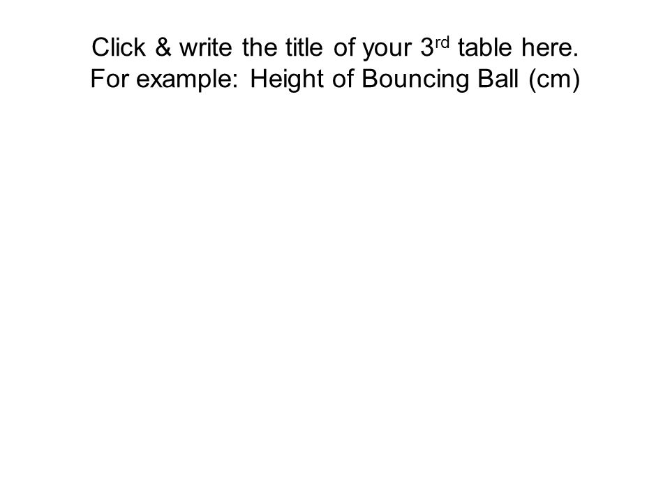 Click & write the title of your 3 rd table here. For example: Height of Bouncing Ball (cm)