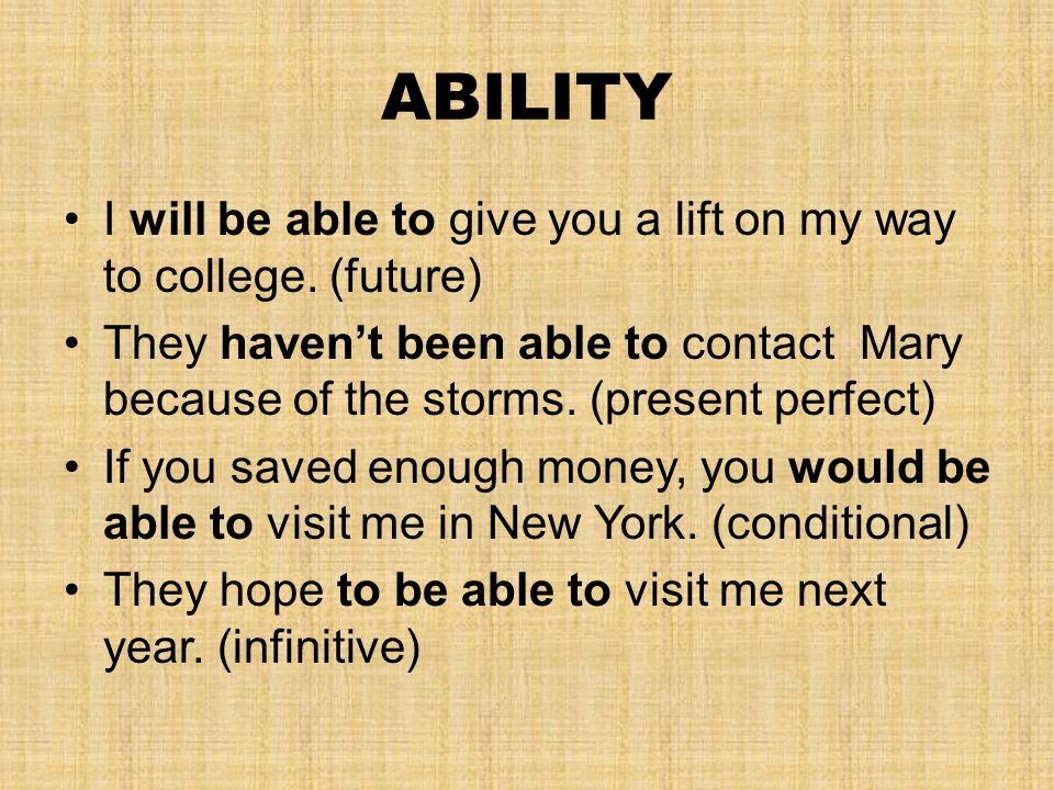 ABILITY I will be able to give you a lift on my way to college.