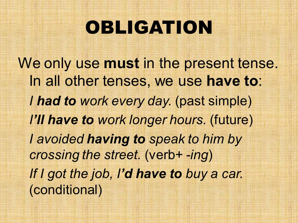 OBLIGATION We only use must in the present tense.