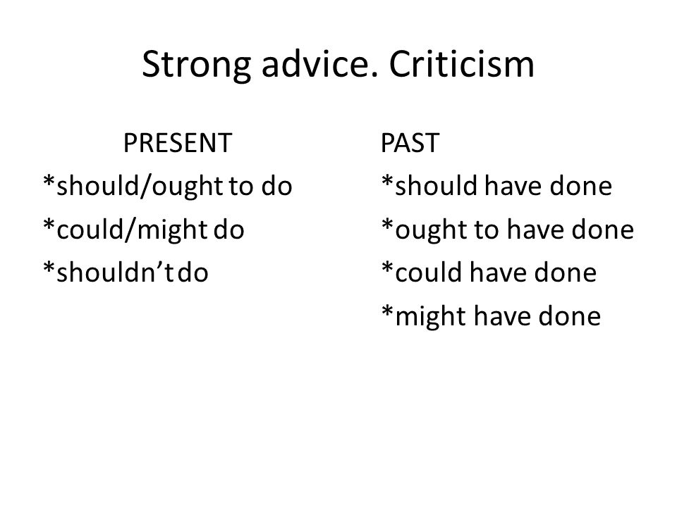 Strong advice. Criticism PRESENTPAST *should/ought to do *should have done *could/might do*ought to have done *shouldn'tdo*could have done *might have
