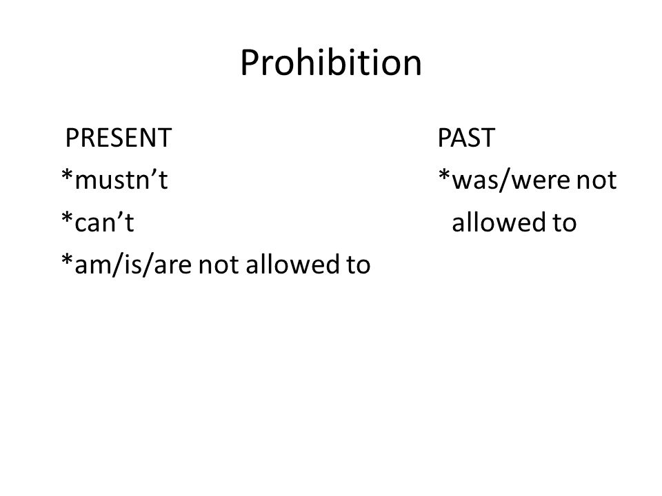 Prohibition PRESENT PAST *mustn't*was/were not *can't allowed to *am/is/are not allowed to