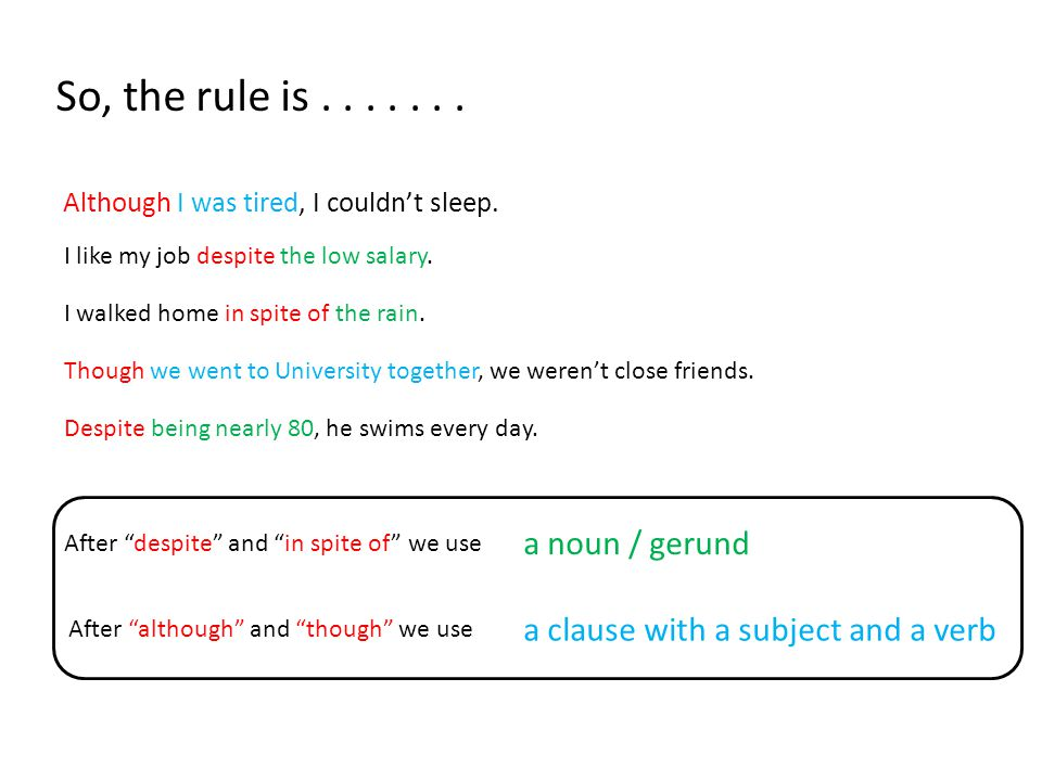 So, the rule is....... Although I was tired, I couldn't sleep.