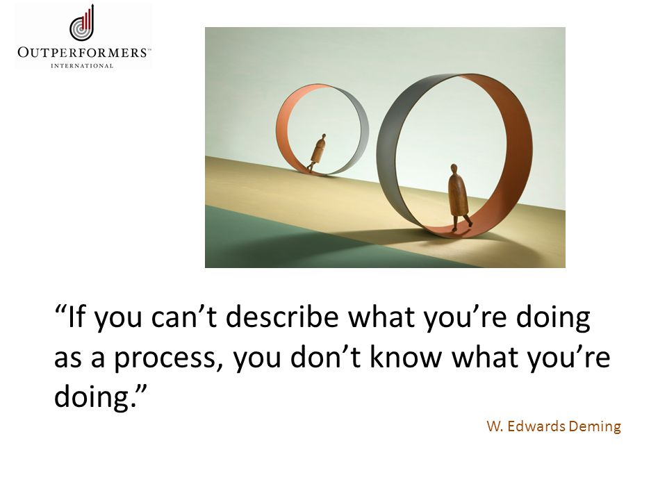 If you can't describe what you're doing as a process, you don't know what you're doing. W.