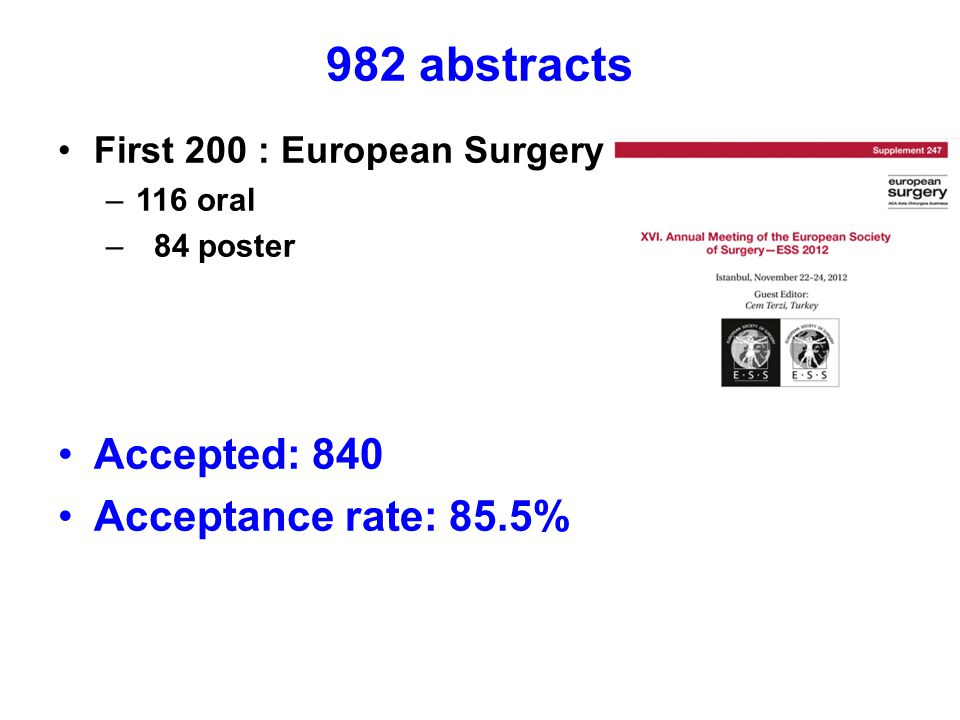 982 abstracts First 200 : European Surgery –116 oral – 84 poster Accepted: 840 Acceptance rate: 85.5%