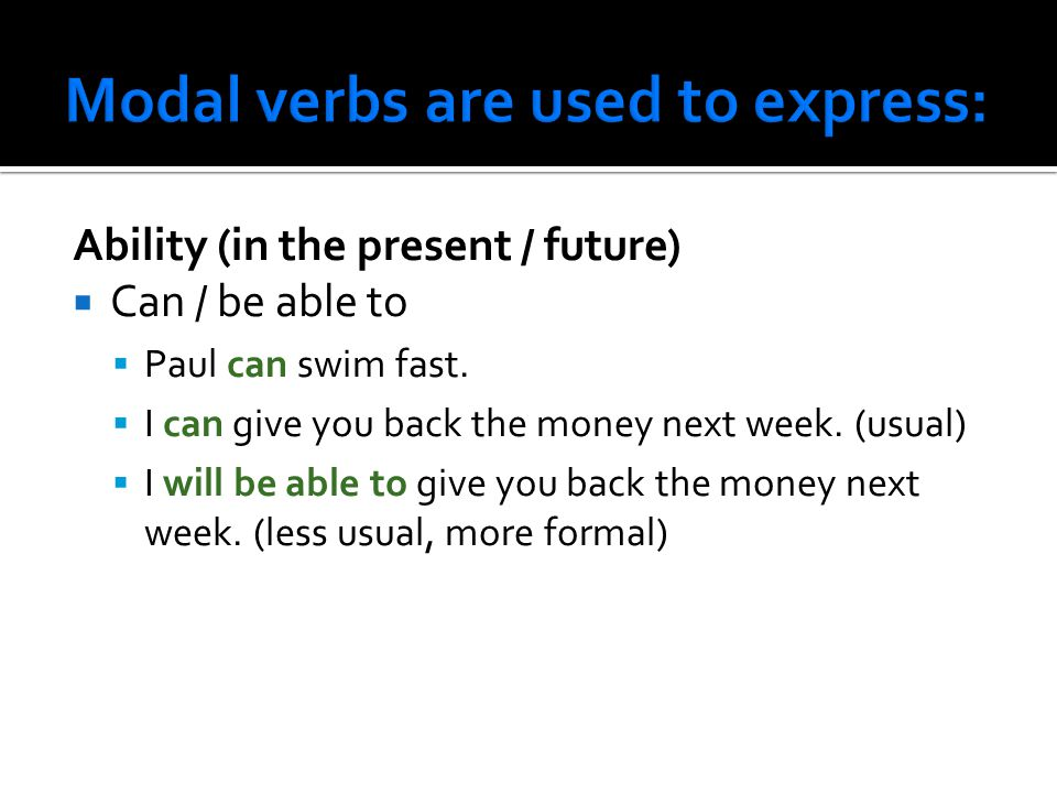 Replace the words in italics with appropriate modal verbs.