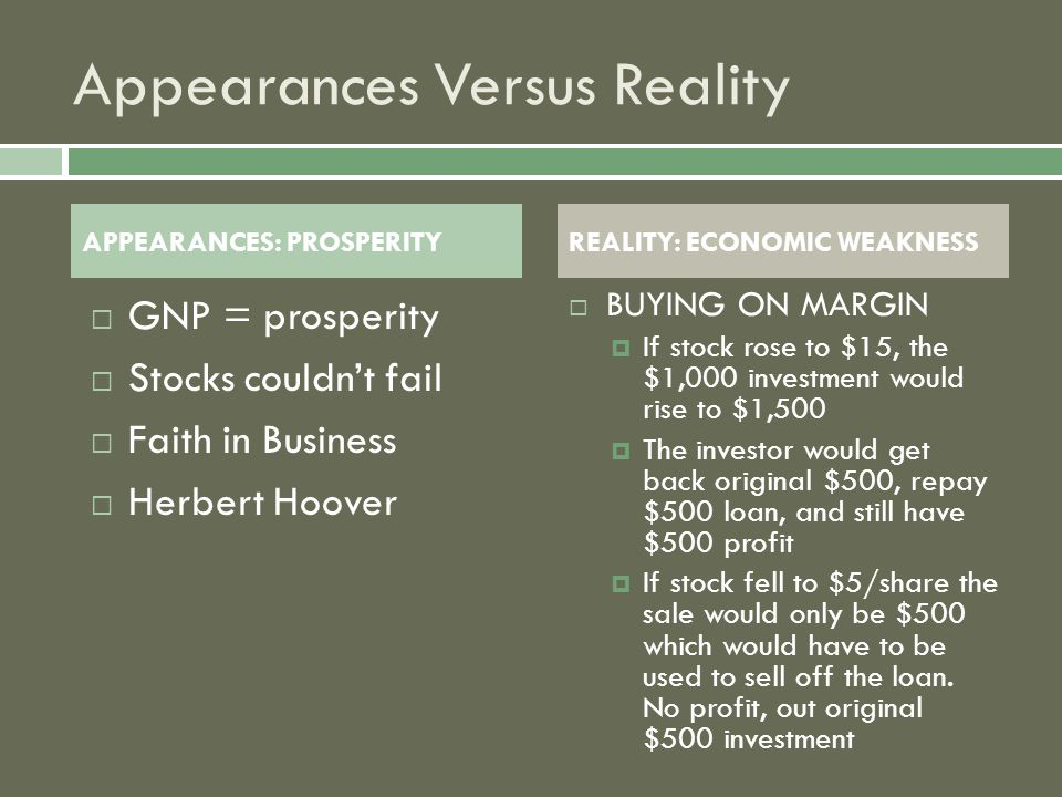 Appearances Versus Reality  GNP = prosperity  Stocks couldn't fail  Faith in Business  Herbert Hoover BBUYING ON MARGIN IIf stock rose to $15, the $1,000 investment would rise to $1,500 TThe investor would get back original $500, repay $500 loan, and still have $500 profit IIf stock fell to $5/share the sale would only be $500 which would have to be used to sell off the loan.