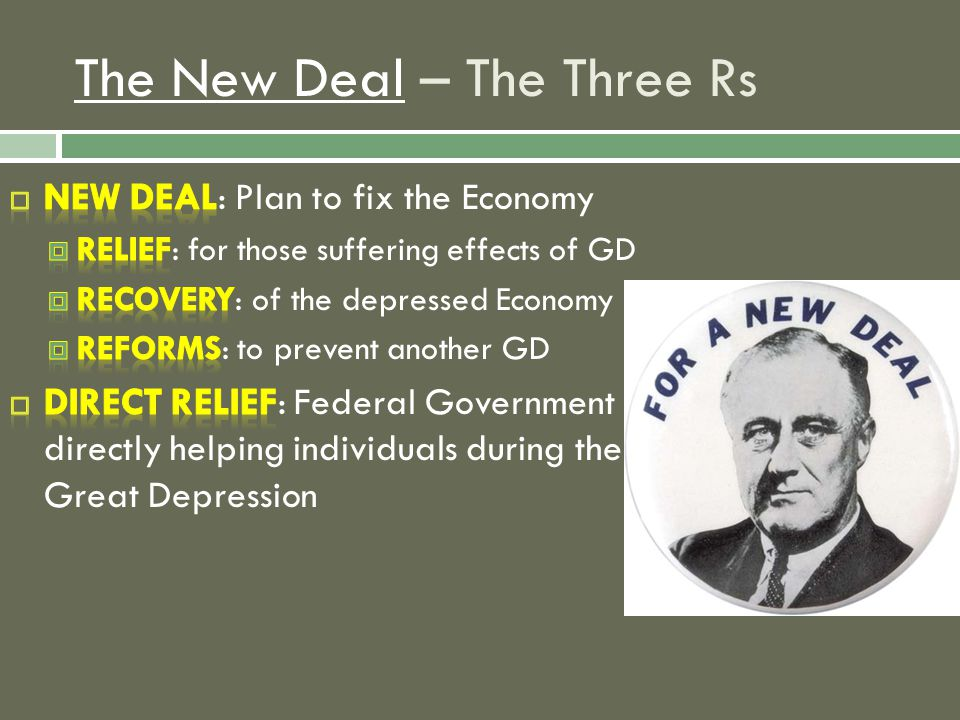 The New DealThe New Deal – The Three Rs