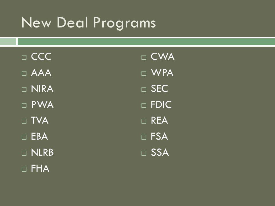 New Deal Programs  CCC  AAA  NIRA  PWA  TVA  EBA  NLRB  FHA  CWA  WPA  SEC  FDIC  REA  FSA  SSA