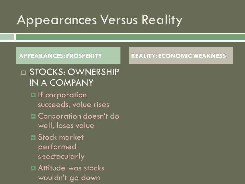 Appearances Versus Reality SSTOCKS: OWNERSHIP IN A COMPANY IIf corporation succeeds, value rises CCorporation doesn't do well, loses value SStock market performed spectacularly AAttitude was stocks wouldn't go down APPEARANCES: PROSPERITYREALITY: ECONOMIC WEAKNESS