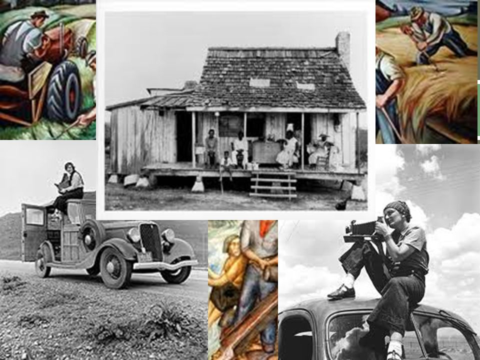 Hired artists to document and improve the Great Depression (paintings, pictures, writings, etc) Relief Works Progress Administration