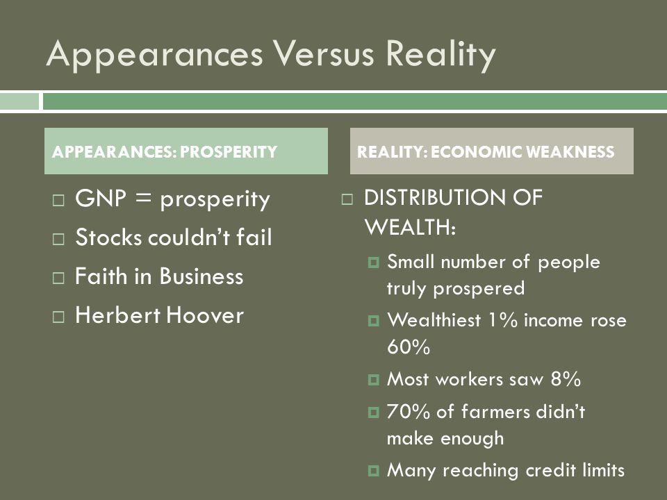Appearances Versus Reality DDISTRIBUTION OF WEALTH: SSmall number of people truly prospered WWealthiest 1% income rose 60% MMost workers saw 8% 770% of farmers didn't make enough MMany reaching credit limits APPEARANCES: PROSPERITYREALITY: ECONOMIC WEAKNESS GGNP = prosperity SStocks couldn't fail FFaith in Business HHerbert Hoover