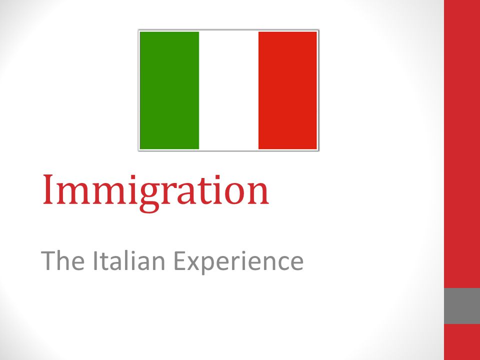 Immigration The Italian Experience