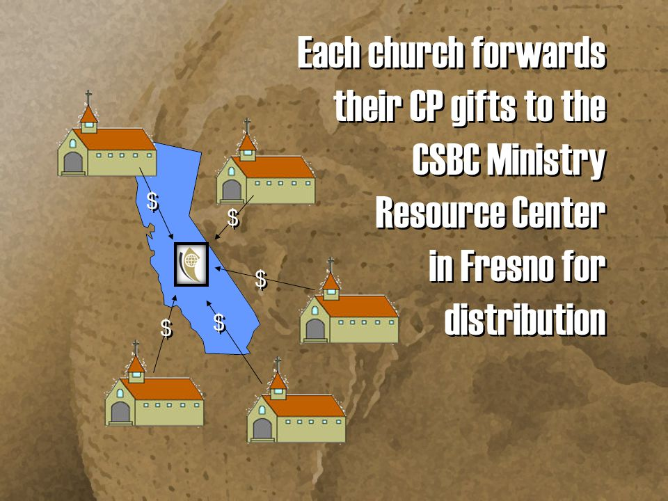 Each church forwards their CP gifts to the CSBC Ministry Resource Center in Fresno for distribution $ $ $ $ $ $ $ $ $ $