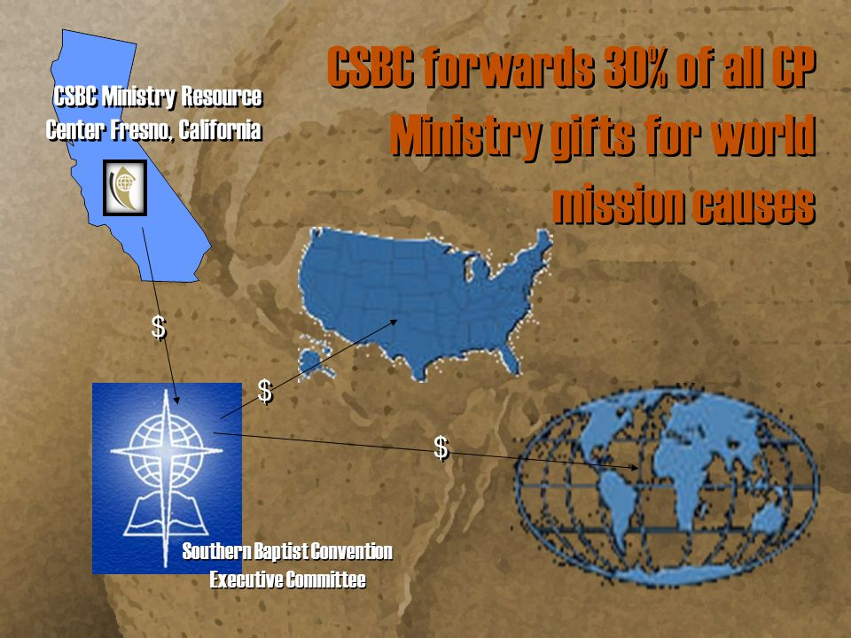 CSBC keeps 70% of CP Ministry gifts to reach California's millions for Christ 10.0% $ $ 1.0% $ $ CSBC Executive Board Ministries 59.0% $ $