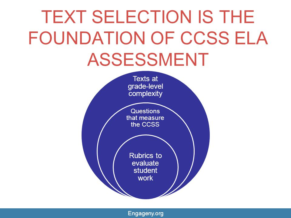 TEXT SELECTION IS THE FOUNDATION OF CCSS ELA ASSESSMENT Texts at grade-level complexity Questions that measure the CCSS Rubrics to evaluate student wo