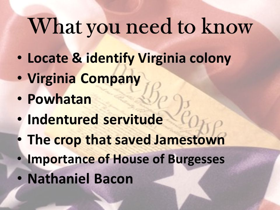 What you need to know Locate & identify Virginia colony Virginia Company Powhatan Indentured servitude The crop that saved Jamestown Importance of House of Burgesses Nathaniel Bacon