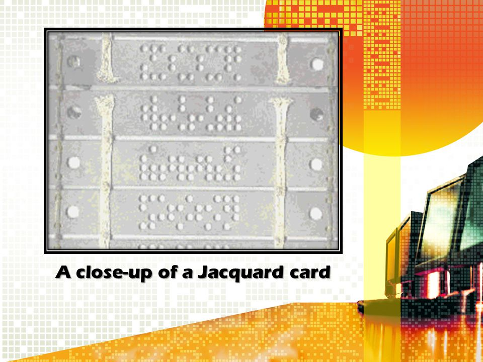 A close-up of a Jacquard card