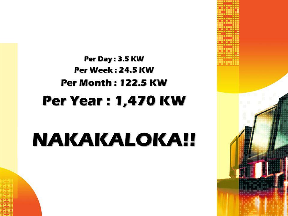 Per Day : 3.5 KW Per Week : 24.5 KW Per Month : 122.5 KW Per Year : 1,470 KW NAKAKALOKA!!