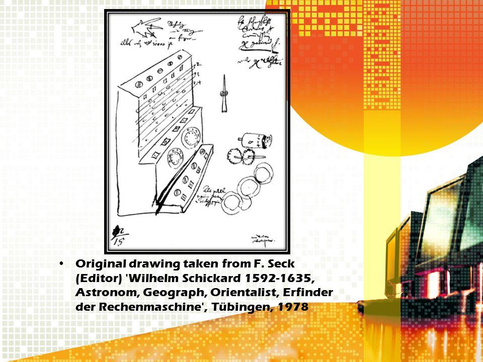 Original drawing taken from F. Seck (Editor) 'Wilhelm Schickard 1592-1635, Astronom, Geograph, Orientalist, Erfinder der Rechenmaschine', Tübingen, 19