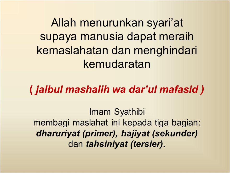 Allah menurunkan syari'at supaya manusia dapat meraih kemaslahatan dan menghindari kemudaratan ( jalbul mashalih wa dar'ul mafasid ) Imam Syathibi mem