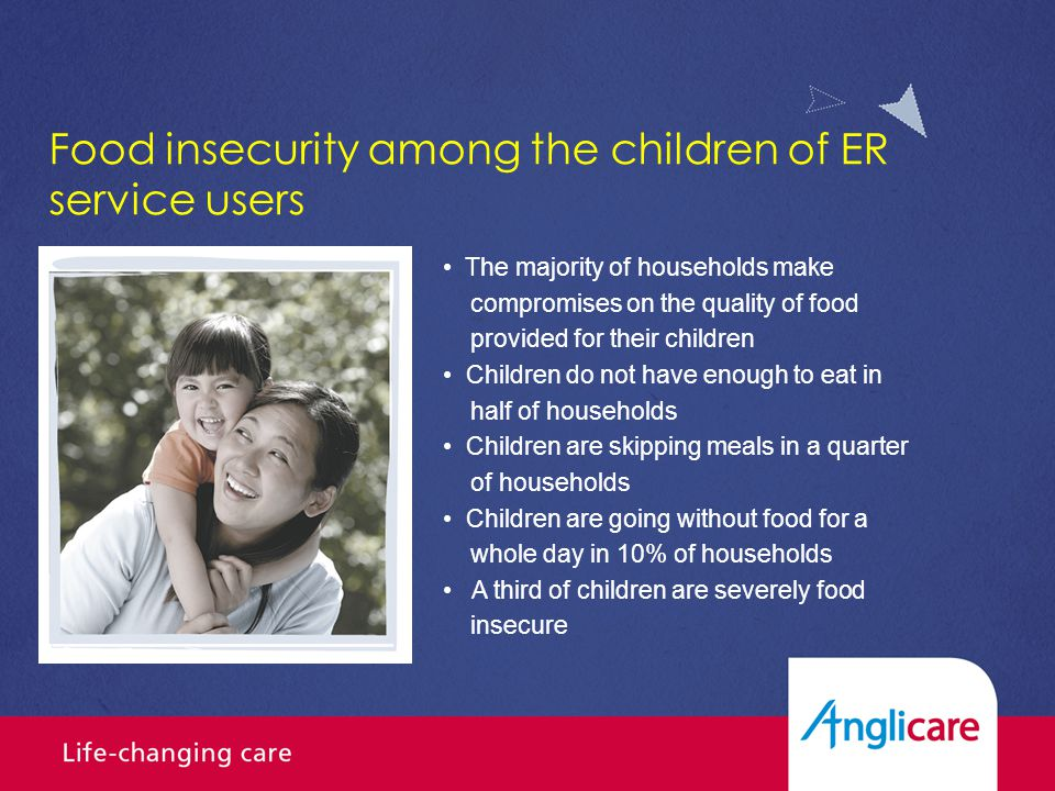 The majority of households make compromises on the quality of food provided for their children Children do not have enough to eat in half of households Children are skipping meals in a quarter of households Children are going without food for a whole day in 10% of households A third of children are severely food insecure