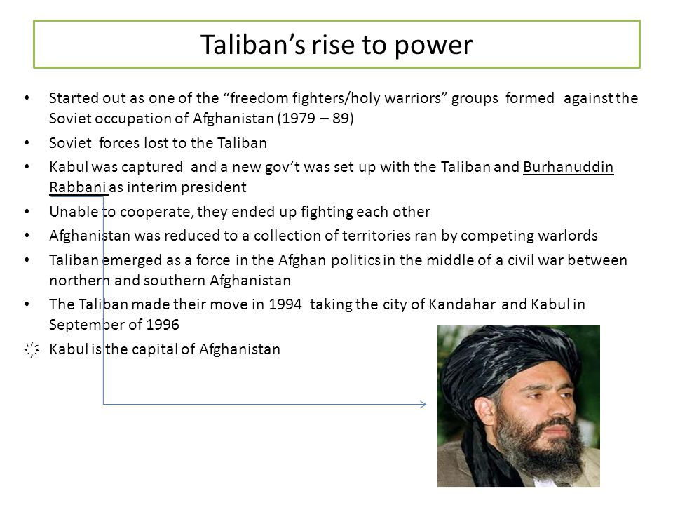 Afghanistan under the Taliban Rule Mullah Muhammad Omar, ruled the people very strictly under the Sharia, or Islamic law.