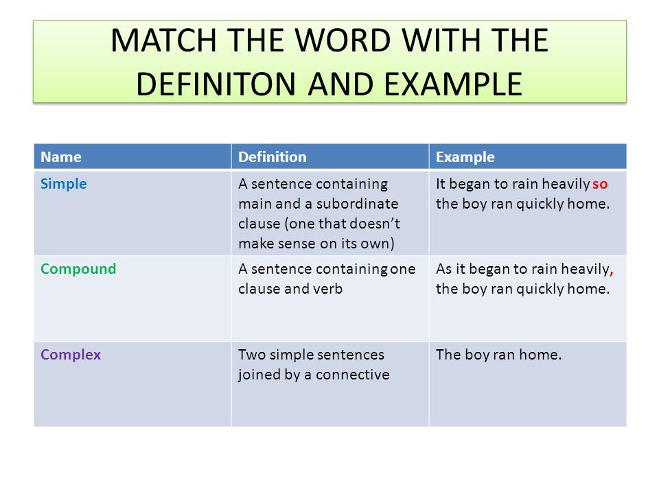 ANSWERS NameDefinitionExample SimpleA sentence containing one clause and verb The boy ran home.
